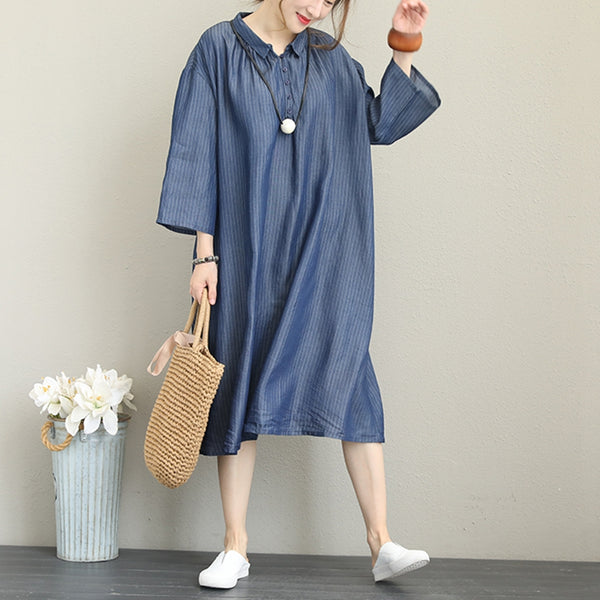 Loose Blue Stripe Dresses Women Casual Outfits For Fall Q1350