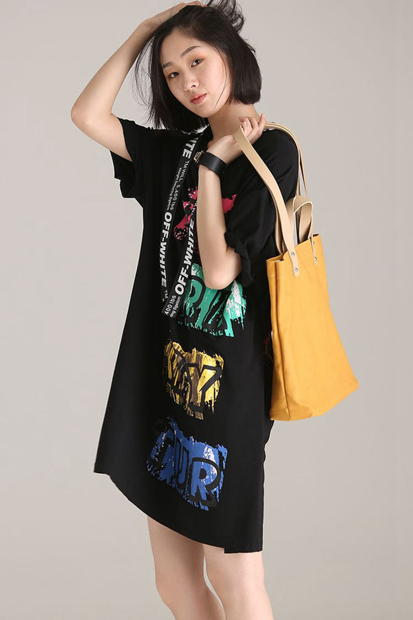 Loose Hoodie Letter Print T Shirt Dresses Women Black Clothes Q1806