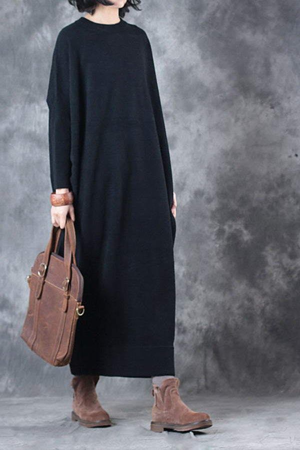 Elegant Loose Thicken Sweater Maxi Dresses For Women Q3012
