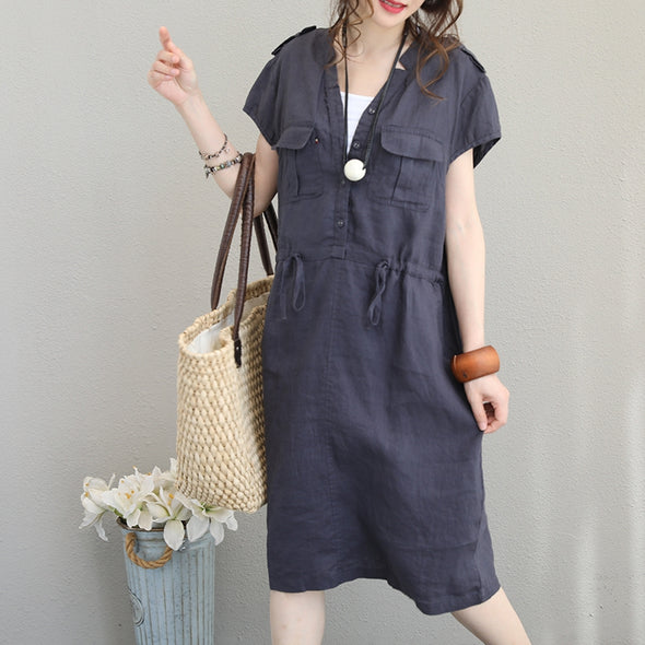 Casual Button Down Cotton Linen Dresses Women Cute Clothes Q1192