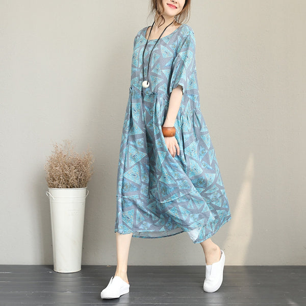 Vintage Blue Floral Maxi Dresses Women Linen Casual Clothes Q1223