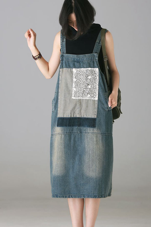 Casual Blue Denim Strap Dresses Women Loose Outfits Q0533