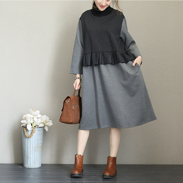 Women Loose High Neck Thicken Cotton Dresses Warm Clothes Q1682