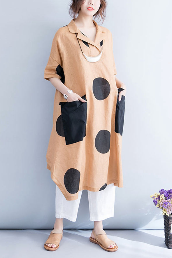 Casual Plus Size Long Shirt Dress Women Loose Blouse Q7058 - FantasyLinen