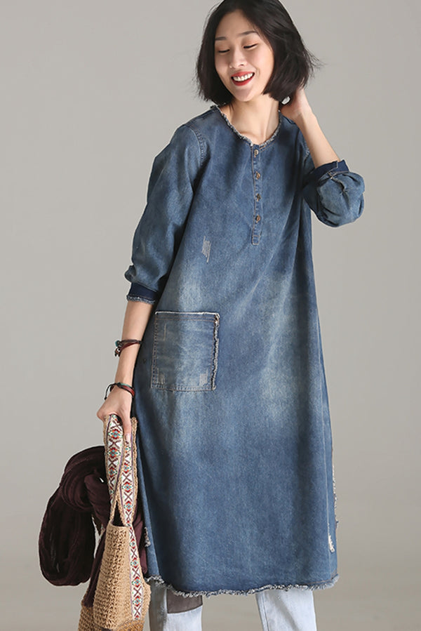 Vintage Casual Blue Denim Dresses Women Fall Outfits Q9505