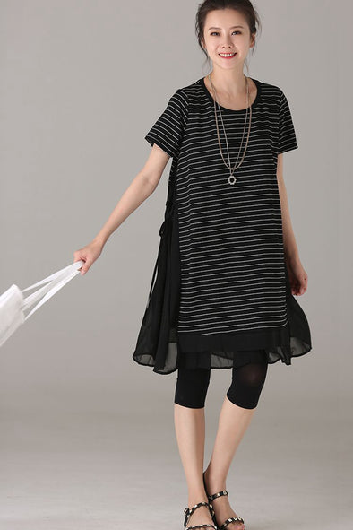 Loose Black Striped Dresses Women Casual Clothes Q6631