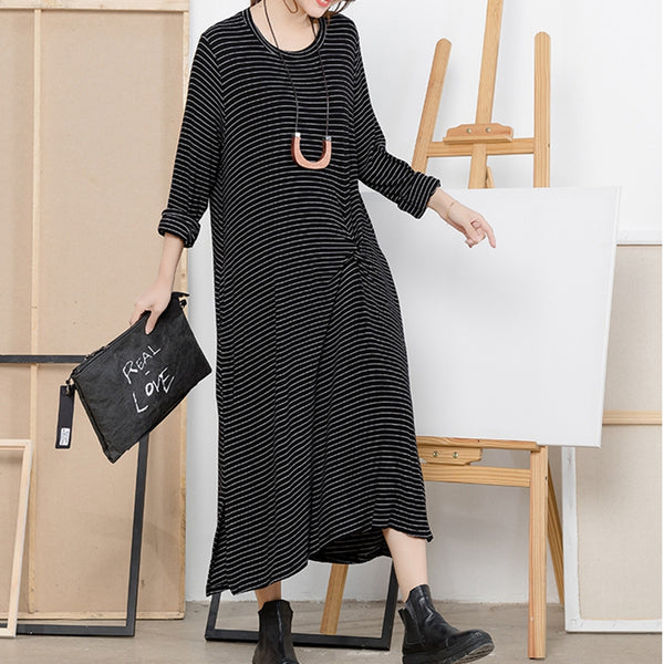 Fashion Black And Khaki Striped Base Dresses Women Casual Clothes Q5112