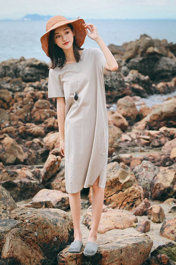 Casual Summer Cotton Dresses Women Loose Outfits Q7085