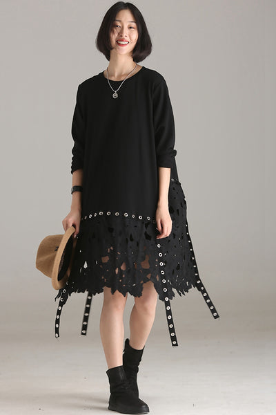 Casual Quilted Black Cotton Dresses For Women Q8013