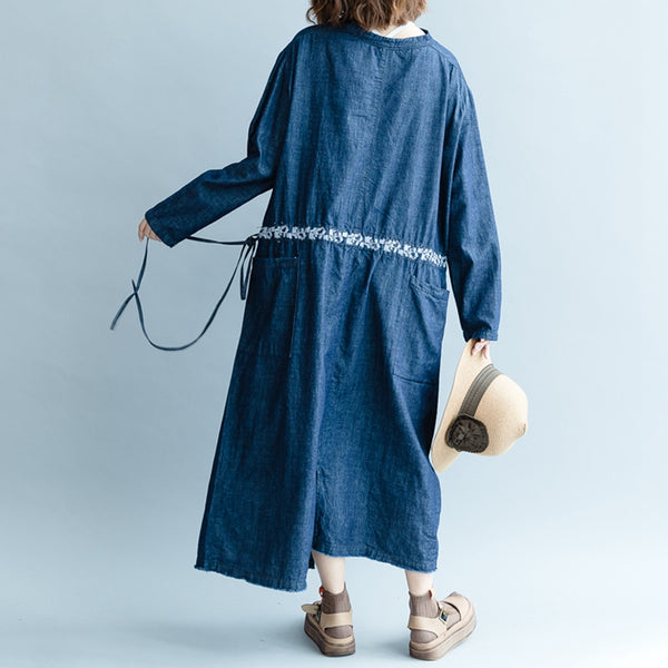 Cute Loose Blue Denim Maxi Dresses Women Autumn Outfits Q2082