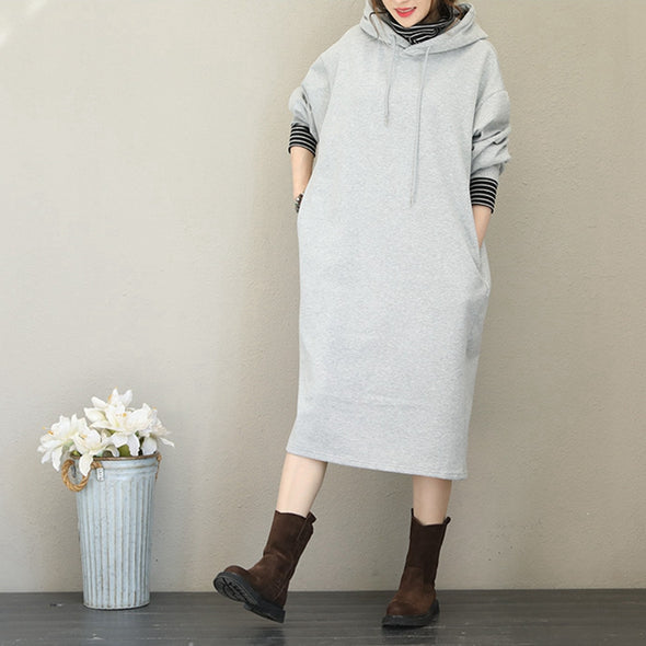 Casual Hoodie Brushed Fleece Dresses Women Warm Clothes Q1736