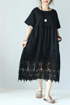 Casual Loose Fitting Round Neck Lace Linen Black Long Dress Q9901