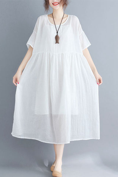 Cute Vintage White Dresses Women Fashion Clothes Q1161