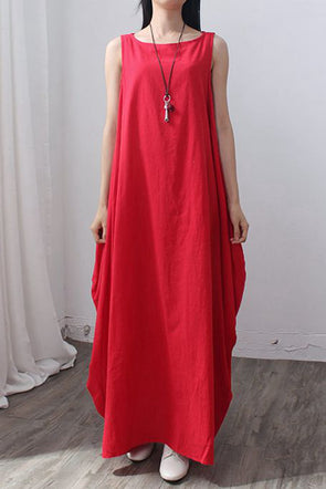 Plus Size Asymmetrical Cotton Maxi Sundress Q1655