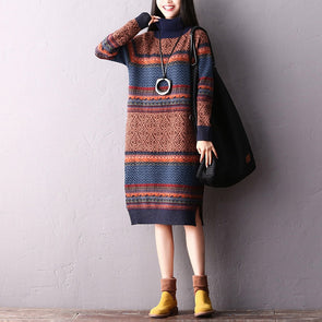 Fashion Casual High Neck Loose Sweater Dresses For Women Q2219