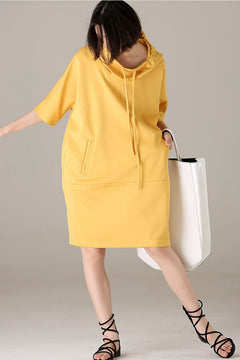 Loose Hoodie Yellow Dresses Women Casual Outfits Q2802
