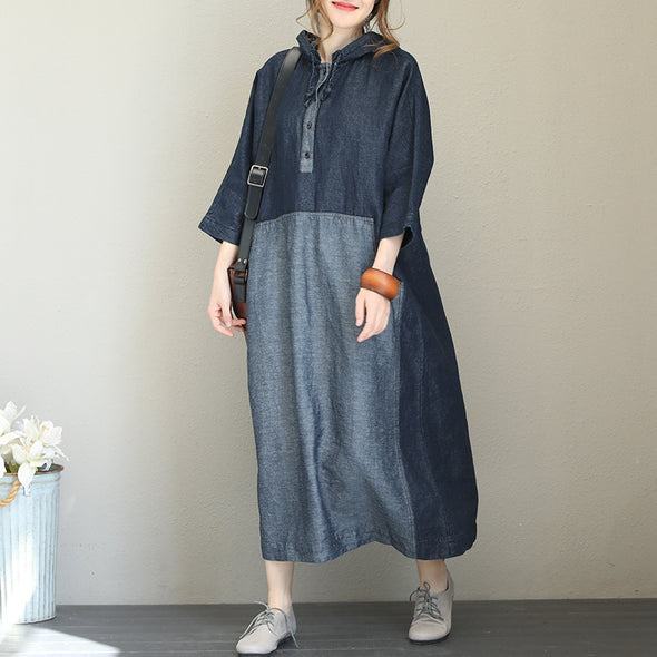 Casual Hoodie Quilted Blue Denim Maxi Dresses For Women Q1569
