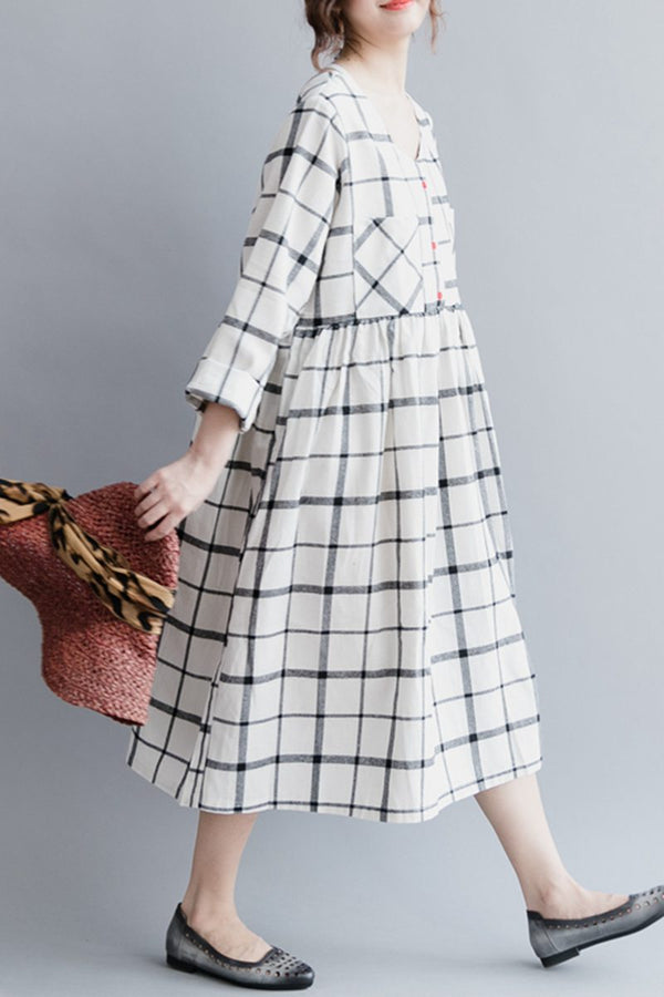 Plaid Cute White Women Long Dresses  Casual Loose Lady Dress Q20415 - FantasyLinen