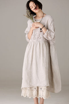 Loose Quilted Cotton Linen Dresses Women Casual Clothes Q7793