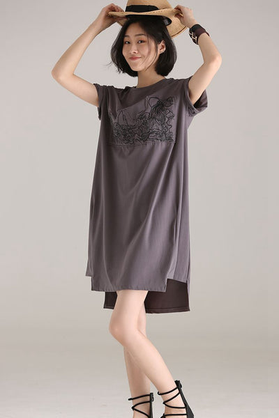 Casual Round Neck Embroidery Dresses Women Gray Clothes Q1233