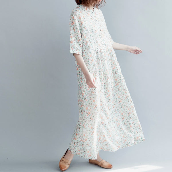 Summer Art Floral Button Down Linen Maxi Dress Q30414