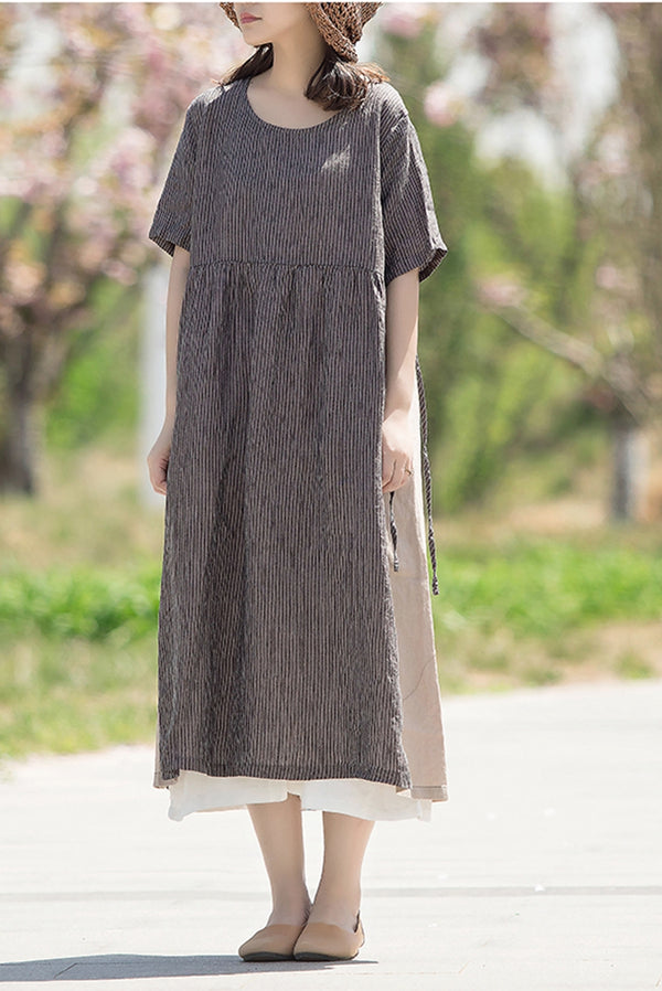 Fashion Striped Quilted Drawstring Linen Women Dress Q1459