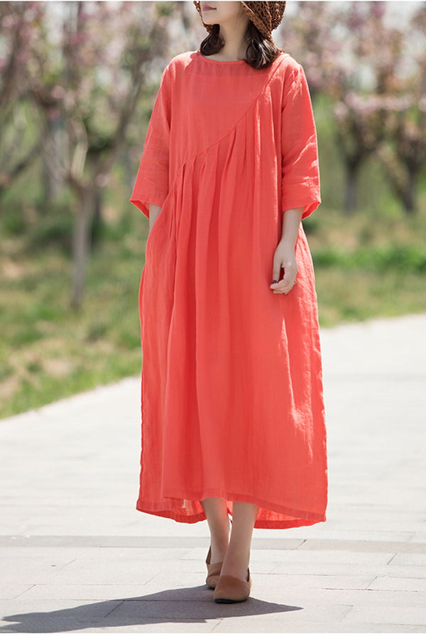 Summer A Line Linen Maxi Dress For Women Q70512
