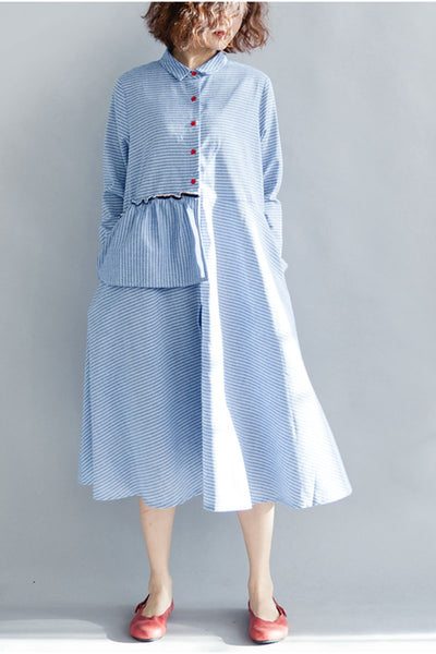 Blue Striped Long Sleeves Cute Dresses For Women Q1642