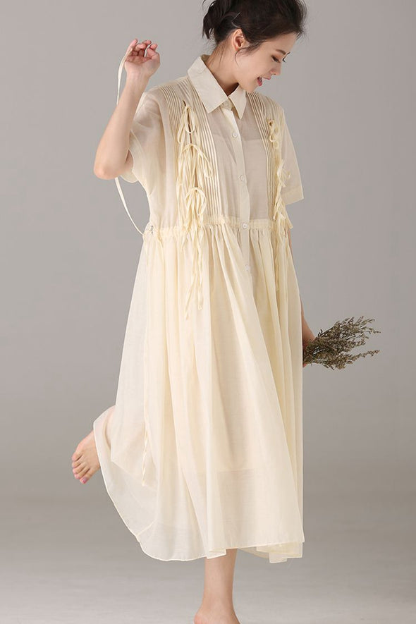 Fashion Button Down Yellow Maxi Dresses Women Cute Clothes Q1876