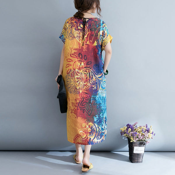Fashion Colorful Print Maxi Dresses Women Casual Linen Clothes Q4075