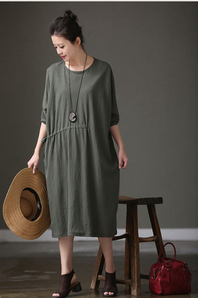 Women Summer Long Sleeve Green Loose Dress Q1113 - FantasyLinen