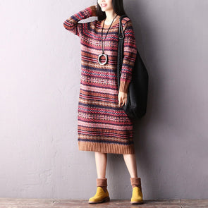 Cute Loose Striped Sweater Dresses Women Casual Winter Clothes Q2310