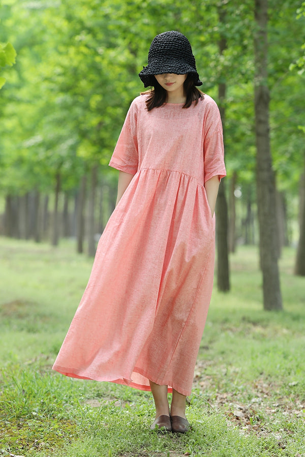 Summer Back Drawstring Linen Maxi Dress Cute Women Clothes Q1454