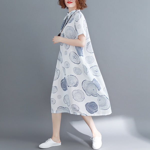 Fashion Print White Long Dresses Women Loose Clothes Q1963
