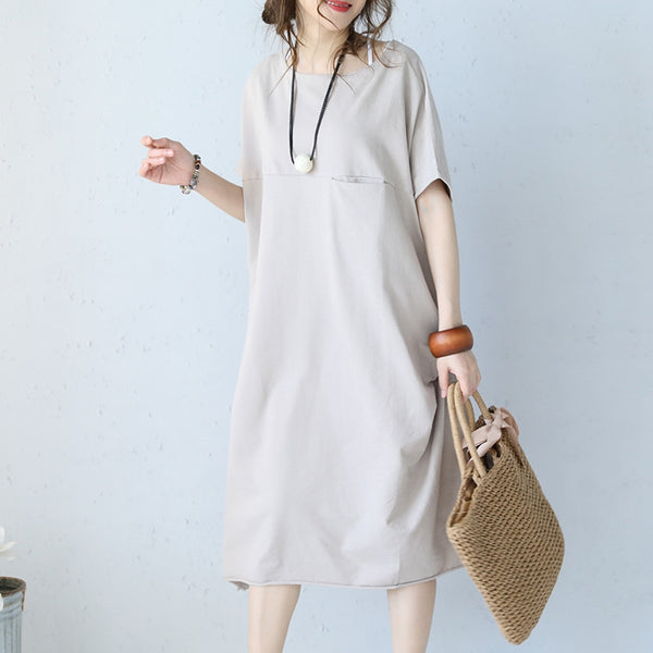 Casual Summer Loose Round Neck Cotton Pocket Dress Summer Women Clothes Q1061 - FantasyLinen