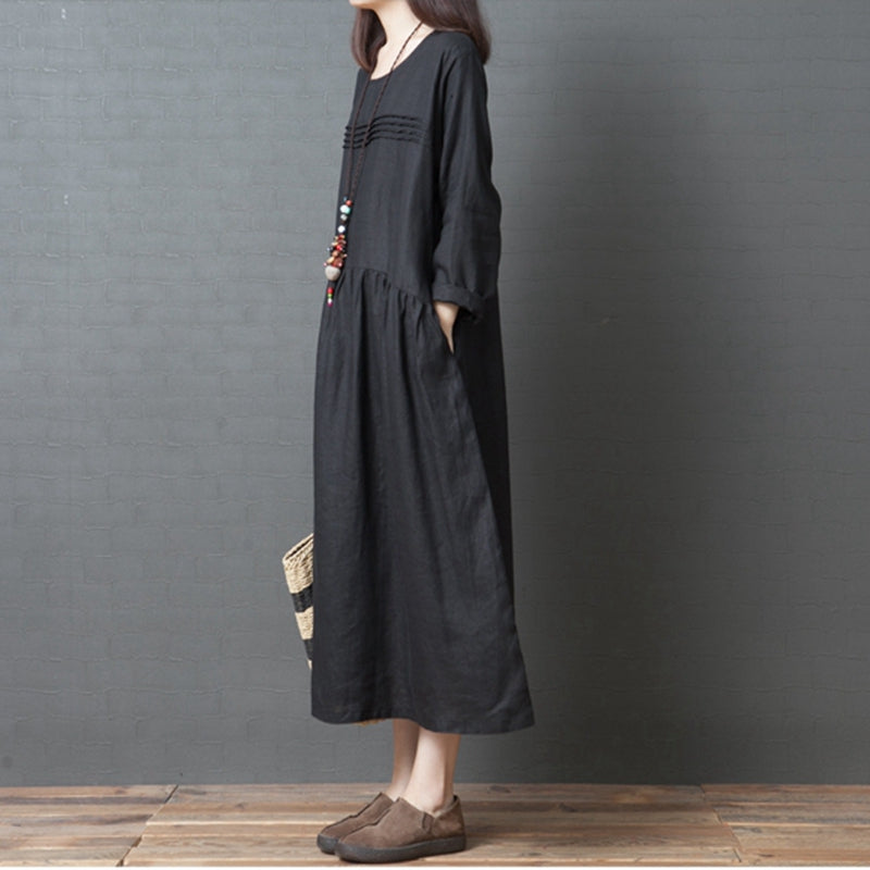 Korea Style Loose Linen Maxi Dresses For Women Q3093 Fantasylinen