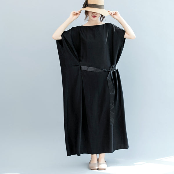 Summer Belt Bat Sleeve Black Maxi Dresses Women Casual Clothes Q3075