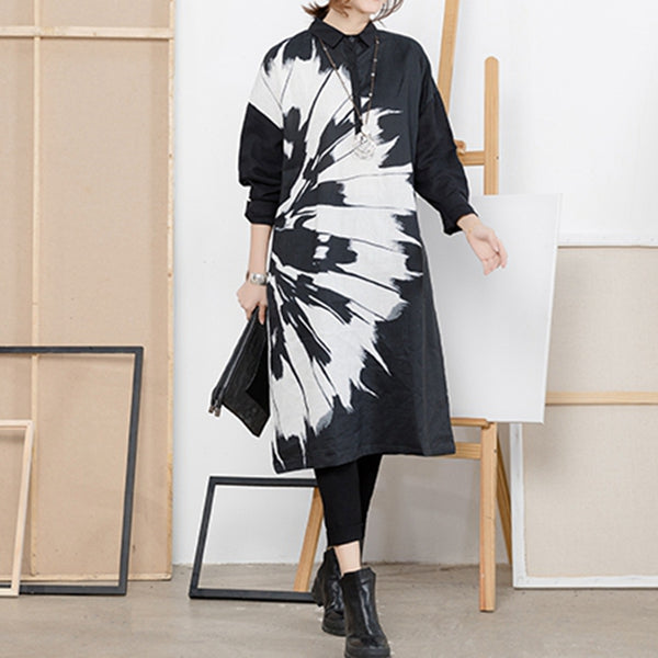 Casual Print Cotton Linen Long Shirt Dresses Women Fall Tops Q2216