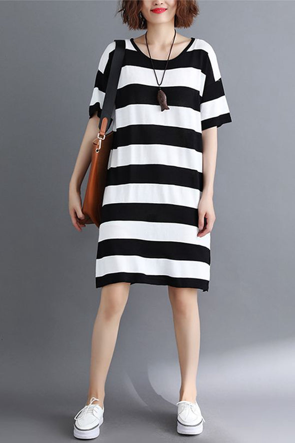 Cute Casual Striped Fitted Shirt Dresses For Women Q1962