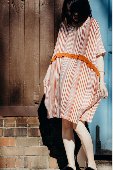 Cute Pink Striped Cotton Dresses Women Fashion Outfit Q8927