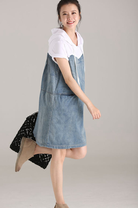 Casual Hoodie Denim Dresses Women Cotton Clothes Q1838