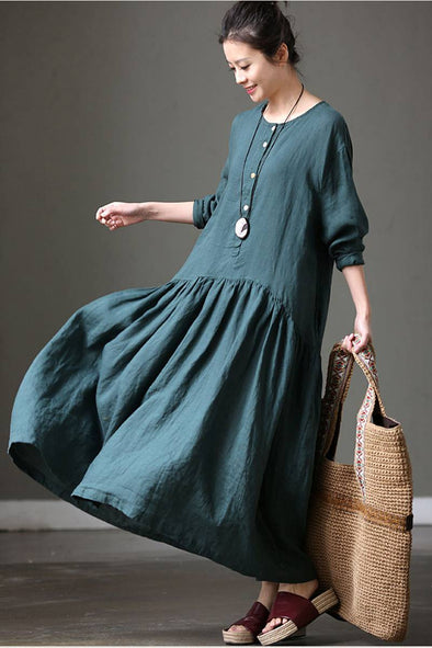 Summer Cotton Linen Green Long Sleeve Loose Women Dress Q7031 - FantasyLinen