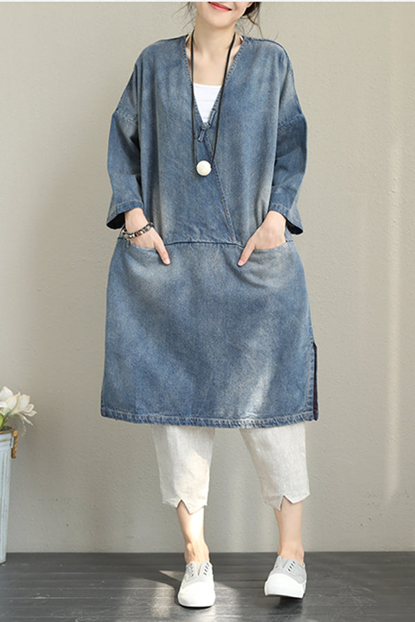 Vintage Loose Blue Denim Dresses Women Cotton Fall Outfits Q1388