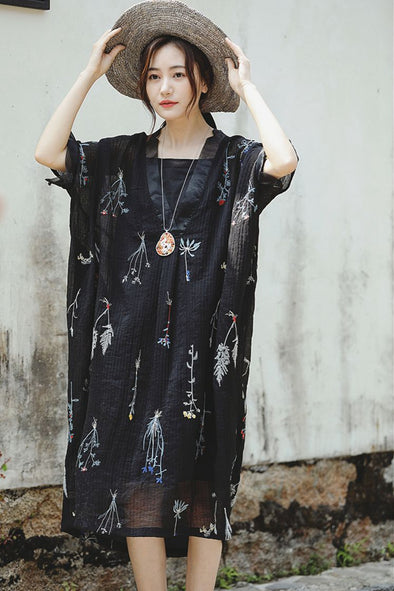 Cute Embroidery Black Long Dresses Linen Clothes For Women Q2163
