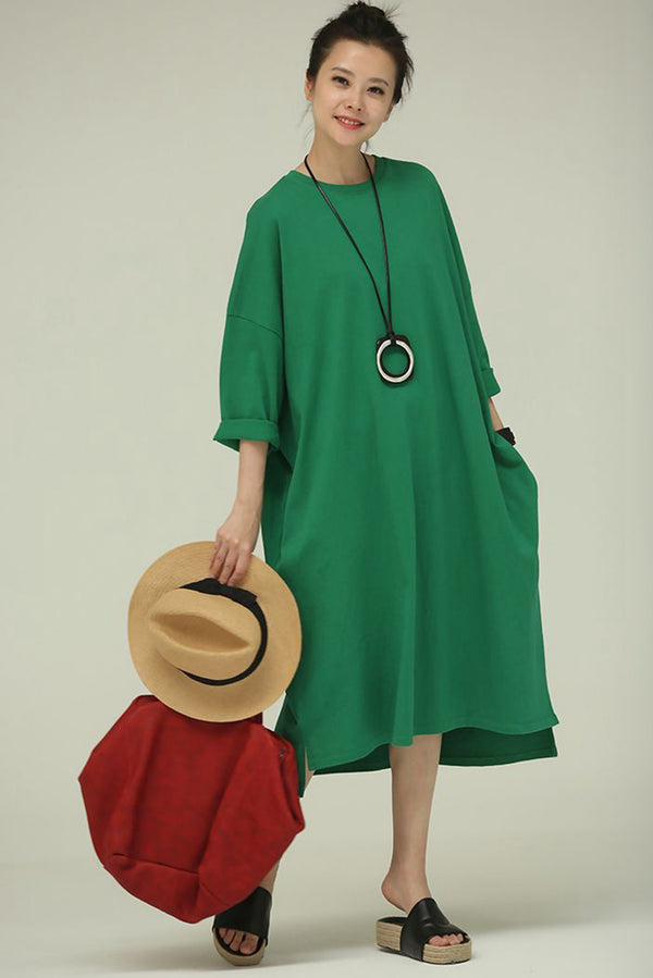 Loose Long Dresses With Sleeves Women Cotton Clothes Q789