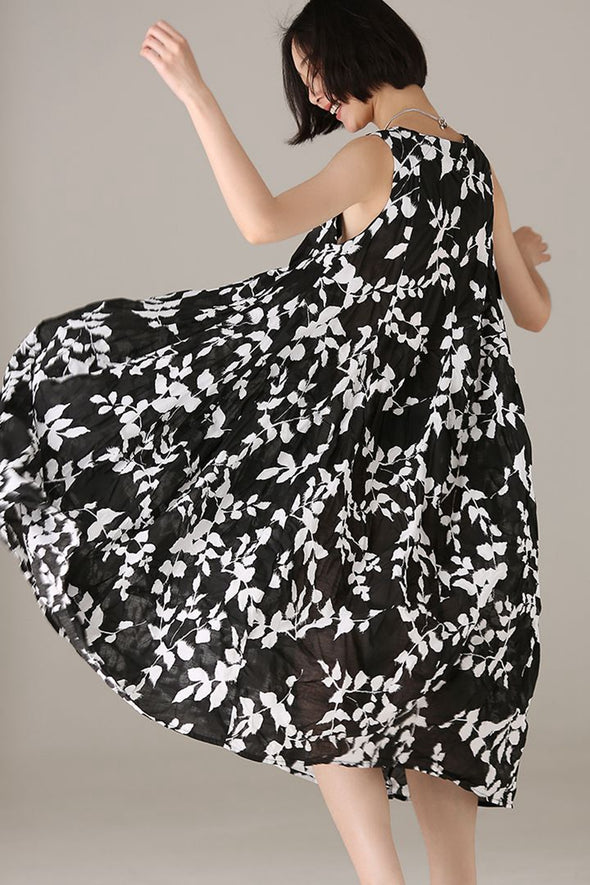 Casual Sleeveless Black Floral Dresses Women Cotton Outfits Q7319