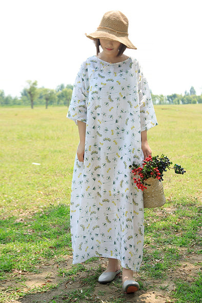 Chinese Style Vintage White Maxi Dresses Women Linen Clothes Q1672