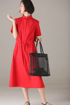 Fashion Button Down Dresses Women Casual Clothes Q7122