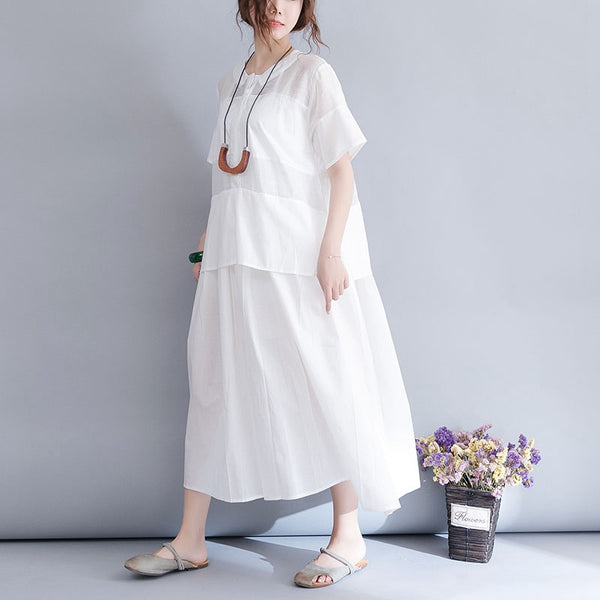 Summer Fresh White Cotton Linen Dresses Women Loose Clothes Q3076