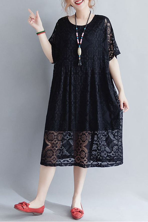 Black And Red Lace Long Summer Dress For Women Q1647 - FantasyLinen
